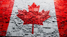 Flag Of Canada Rendered In A Futuristic 3D Style. Canadian Technology Concept. Tech Background.