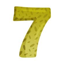 Cute Seven Number. 7 Childish Numeral For Card, Poster, Nursery Design Cartoon Vector Illustration