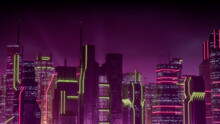 Cyberpunk City Skyline With Pink And Yellow Neon Lights. Night Scene With Advanced Skyscrapers.