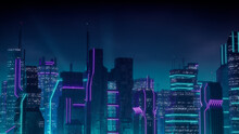 Cyberpunk City Skyline With Purple And Cyan Neon Lights. Night Scene With Futuristic Superstructures.