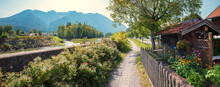 Pictorial Walkway Along Loisach River, Eschenlohe Village, Autumn In Bavaria