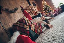 Full Length Body Size Photo Girl Careless Laying Upside Down On Sofa On Christmas Holidays