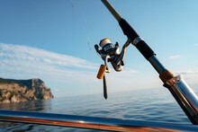 Fishing Rod On A Sailboat In Open Sea, Close Up