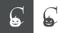 Logotipo Letra Inicial C Con Calabaza De Halloween En Fondo Gris Y Fondo Blanco