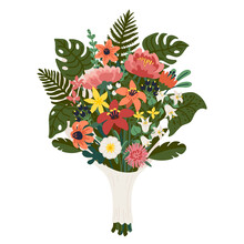 Flower Bouquet, Bunch Of Pink And Yellow Flowers And Green Branches. Vector Illustration In Flat Cartoon Style On White Background.