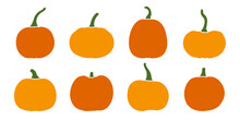 Pumkin Icon Set. Vector Illustration.