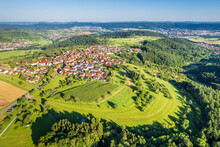 Germany, Baden-Wurttemberg, Drone View Of Countryside Village And Surrounding Landscape In Summer