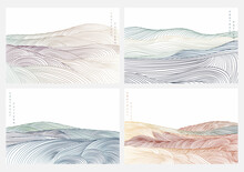 Japanese Background With Line Wave Pattern Vector. Abstract Art Template With Natural Landscape. Mountain And Ocean Decoration In Vintage Style.