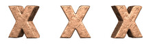 Letter X From Copper Letters Alphabet Collection Set. Isolated. 3D Rendering