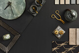 Fototapeta Kawa jest smaczna - Flat lay composition of creative black architect moodboard with samples of building, textile and natural materials and personal accessories. Top view, black backgroung, template.
