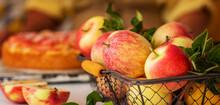 Tasty Homemade Apple Pie On White Rustic Table. Traditional American Dessert. Bio Healthy Food. Organic Apples In Basket.