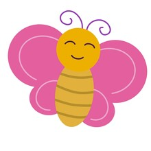 Butterfly Icon With Pink Wings.  Cute Insect