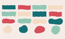 Set éléments Graphiques Vectoriels. Formes Abstraites Et Colorées Pour Illustrations, Compositions, Fonds Avec Zone Pour Insérer Du Texte.