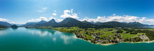 Panoramic View By Lake Wolfgangsee Near Mountain Range, Abersee, Salzkammergut, Salzburg, Austria
