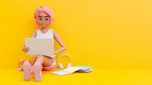 Young Girl Enjoys Studying Learning And Researching Information From Computer. In The Yellow Room From Her Laptop There Is A Book On The Side. Cartoon Character Expression 3d Rendering