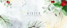 Watercolor Winter Art Background With Berries And Seasonal Leaves