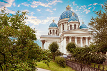 Trinity Cathedral In Saint Petersburg. Orthodox Church In Russia. Summer In Saint Petersburg. Trinity Cathedral With Blue Domes. Saint Petersburg In Sunny Weather. Cathedrals Of Russia.