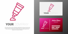 Logotype Line Tube With Paint Palette Icon Isolated On White Background. Logo Design Template Element. Vector