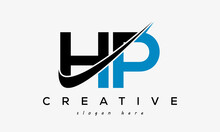 Creative HP Letter Logo Design With Swoosh Icon Vector Illustration