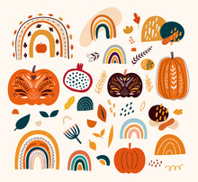 Autumn Collection With Pumpkins, Leaves And Rainbows. Bright Autumn Design With Pumpkins, Leaves And Abstract Shapes.