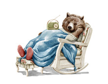 Watercolor Christmas Vintage Man Bear In Sweater Clothes Listen Radio Receiver And Sleep In Rocking Chair Covered With Blanket Isolated On White Background. Hand Drawn Illustration Sketch
