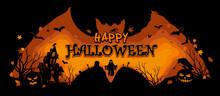 Halloween Illustration On A Bat Background. Happy Halloween Vectors. Halloween Posters