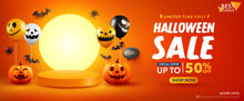 Halloween Sale Promotion Poster Or Banner With Halloween Pumpkin, Ghost Balloons And Product Podium Scene.Scary Air Balloons.Website Spooky,Background Or Banner Halloween Template.