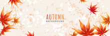 Autumn Background With Colorful Watercolor Leaves. Leaf Fall. Japanese Maple Leaf. Vector Illustration