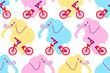 Elephant On Bicycle Pattern Seamless. Animal Is Riding Bicycle Background. Baby Fabric Texture. Cartoon Childrens Ornament