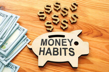Money Habits Sign On The Wooden Piggy Bank.