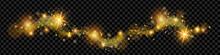 Christmas Golden Magic Dust, Shine Glitter Wave On Transparent Background, Holiday Sparkling Stars. X-mas Bright Yellow Swirl, New Year Shiny Spray, Galaxy Sky. Fairy Lights, Magic Dust Illustration