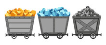 Collection Of Metal Mine Carts Loaded With Gold, Crystals And Stones Or Coal. Cartoon Mine Trolleys.  Design Illustration Isolated On White Background
