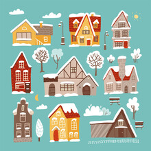 Different Winter Houses Set. Brick And Wooden Christmas Houses Covered With Snow. Winter Background With Cartoon Countryside Buildings. Winter Time Landscape Constructor.