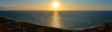 Panoramic Photograph Of A Sunrise Over The Mediterranean Sea