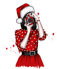 Beautiful Girl In A Christmas Hat And Stylish Clothes. Fashion And Style, Clothing And Accessories. New Year's And Christmas.