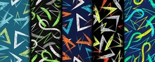 Set Of Multicolor Abstract Seamless Patterns With Grunge Paint Brush Strokes. Colorful Intricate Smears On Black Background. Modern Grunge Texture. Perfect For Sportswear, Sporting Goods