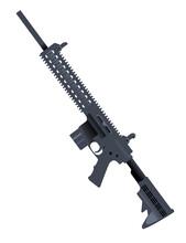 Modern Assault Rifle Cartoon Design Automatic Fire Rifle AR 15 Vector Illustration On White Background