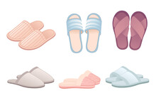 Collection Of Home Soft Slippers Different Colors Vector Illustration On White Background