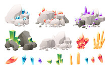 Set Of Different Types Colored Shine Mineral Ore Flat Vector Illustration On White Background