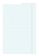 Blank Notebook Sheet With Margins Sheet Of Blue Lines On White Background Perfect For Planner, Notebook, School, Print A5 Sheet Lined Pattern Papers For Homework And Exercises Vertical Editable Mockup