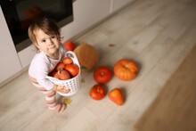 Little Cheerful Girl Indoor Holds Pumpkins