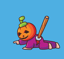 Cute Pumpkin Costume Dying. Isolated Cartoon Animal Halloween Illustration. Flat Style Suitable For Sticker Icon Design Premium Logo Vector. Mascot Character