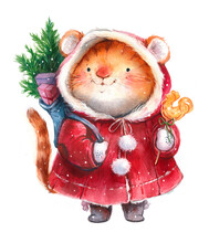 Watercolor Illustration, New Year Christmas Tiger Character, Tiger Cub With Gifts And Christmas Tree, Symbol Of 2022 On White Background