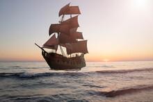 Vintage Pirate Sailing Ship At Sea