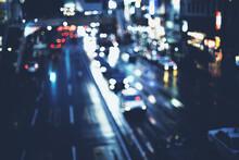 夜の道路 カラフルな丸ボケ