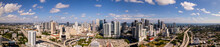 Aerial Panorama Downtown Miami And Brickell As Seen From West Side
