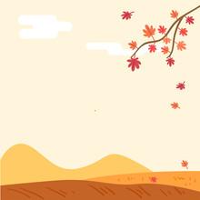 가을배경 단풍나무와 언덕이 있는 가을 풍경. 정사각 배경