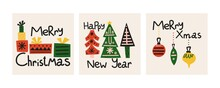 Christmas Postcard Set. Hand Drawn Scandinavian Style Xmas Card, Cartoon Ethnic Winter Holidays Elements And Lettering, Trendy Colors Tree Gifts And Toys, Poster Or Print Vector Isolated Illustration