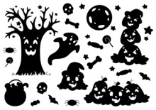 Set Of Black Silhouettes Pumpkin, Ghost, Tree, Bat, Bones. Halloween Theme. Vector Illustration Isolated On White Background. Template For Books, Stickers, Posters, Cards, Clothes.