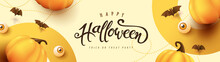 Happy Halloween Banner Or Party Invitation Background With Pumpkins Festive Elements Halloween